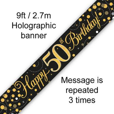 Black And Gold 50th Happy Birthday Party Banner
