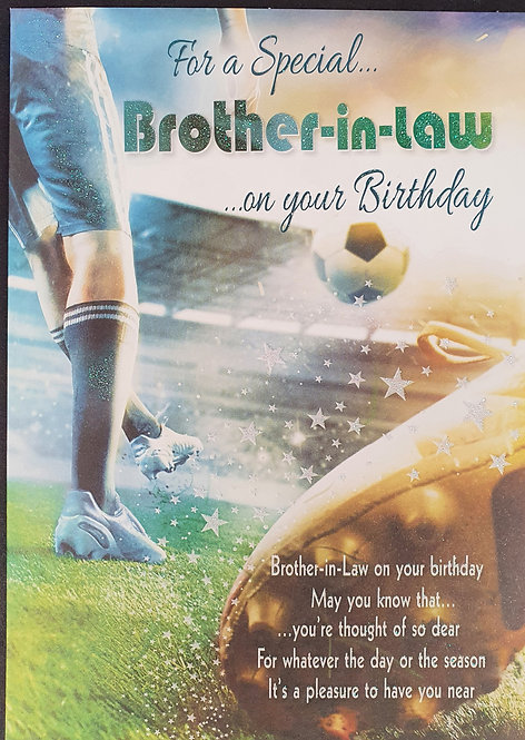 Brother-in-Law Birthday Greeting Card With Football Front