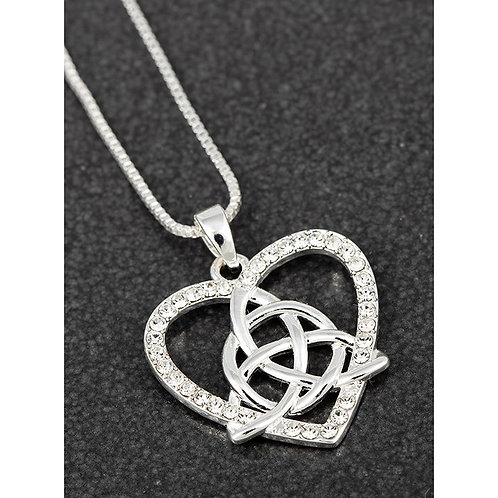 Equilibrium Silver Plated Celtic Heart Knot Necklace