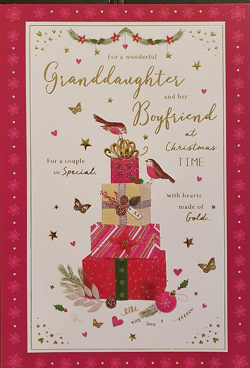 Granddaughter and Boyfriend Christmas Greeting Card