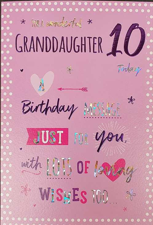 Granddaughter 10th Birthday Greeting Card Front