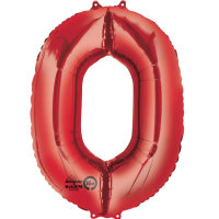 large red number 0 foil helium balloon