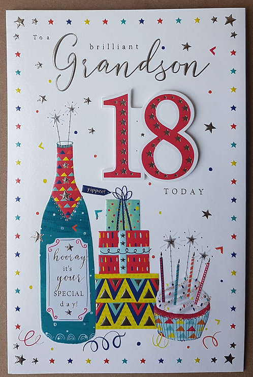 Grandson 18th Birthday Greeting Card With Bottle And Presents