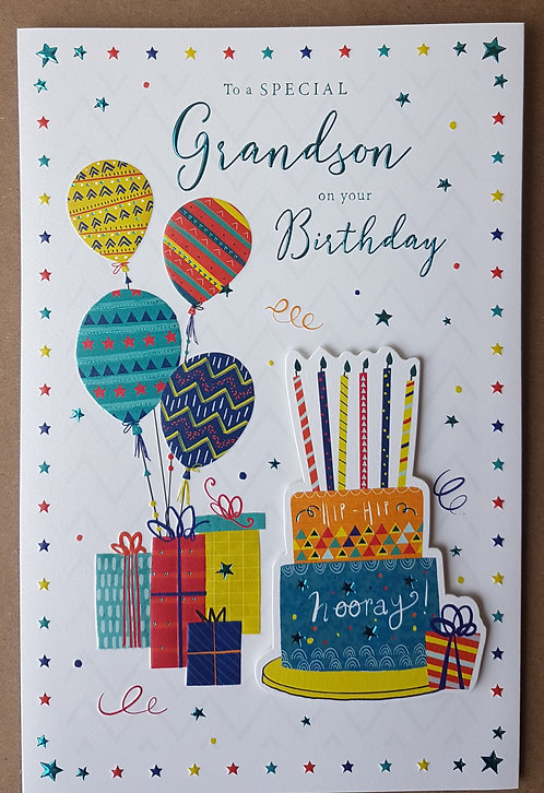 Grandson Birthday Greeting Card With Balloons