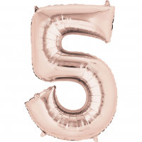 large rose gold number 5 foil helium balloon