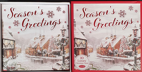 Multipack Box of 10 Luxury Christmas Cards - Village Scene
