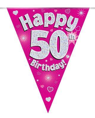 Pink Happy 50th Birthday Bunting