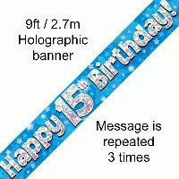 Blue 15th Happy Birthday Party Banner