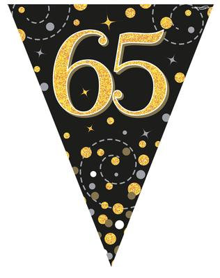 Black And Gold Happy 65th Birthday Bunting