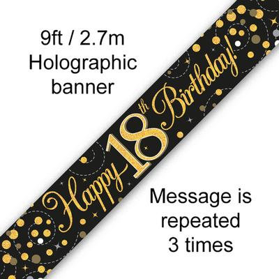 Black And Gold 18th Happy Birthday Party Banner