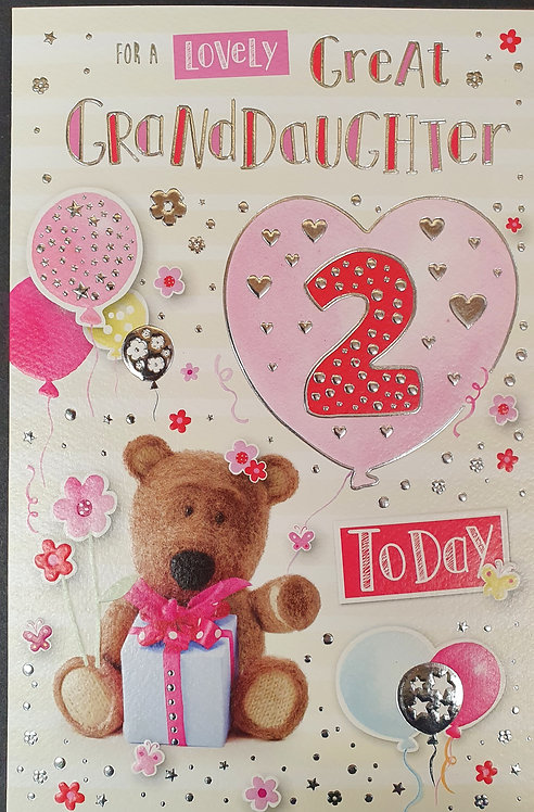 Great Granddaughter 2nd Birthday Greeting Card Front