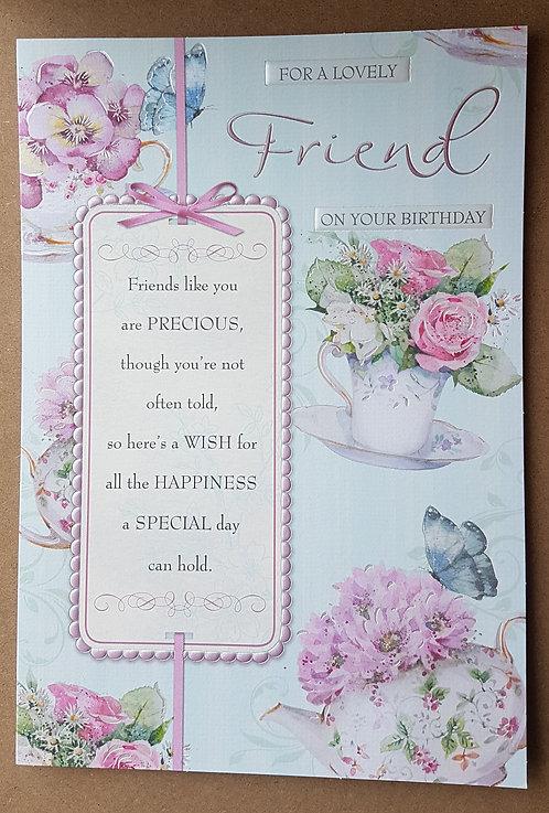 Female Birthday Greeting Card - Friend, Teapot