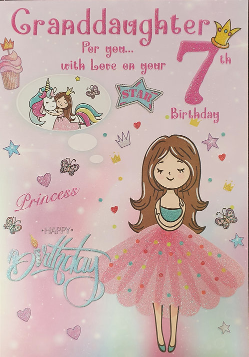 Granddaughter 7th Birthday Greeting Card Front