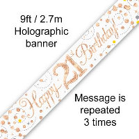 Rose Gold 21st Happy Birthday Party Banner
