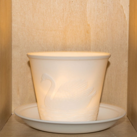 Nordic Light Tea Light Holder With Swans