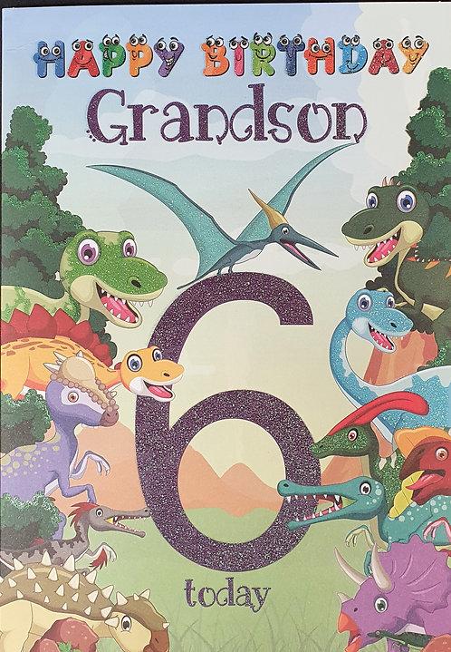 Grandson 6th Birthday Card