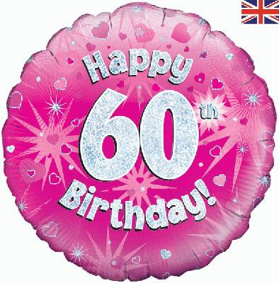 "18"" Pink 60th Birthday Balloon - Helium Filled"