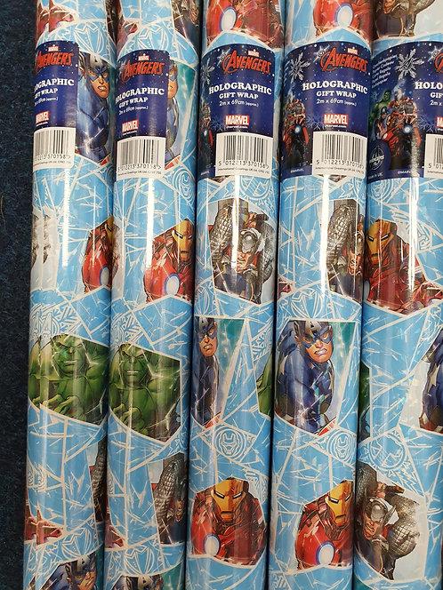 2m Holographic Giftwrap - Marvel Avengers