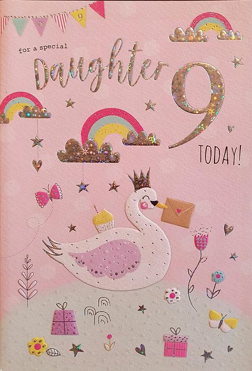 Daughter 9th Birthday Card