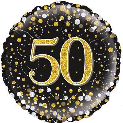 "18"" Black & Gold 50th Birthday Balloon - Helium Filled"