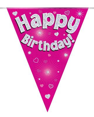 Party Bunting Happy Birthday Pink Holographic