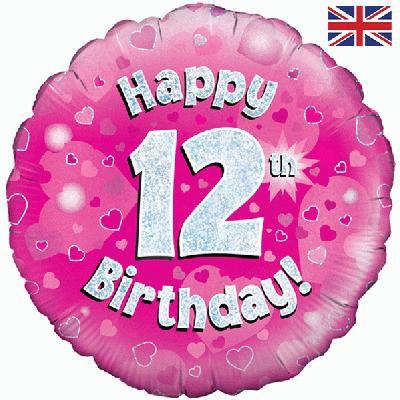 "18"" Pink 12th Birthday Balloon - Helium Filled"
