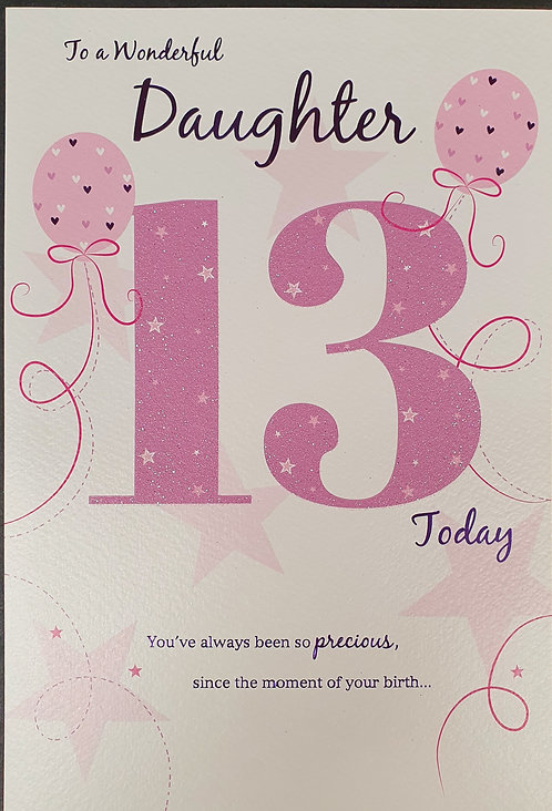 Daughter 13th Birthday Greeting Card Front