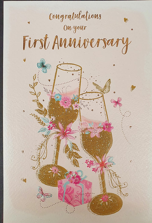 On Your First Anniversary Greeting Card Front