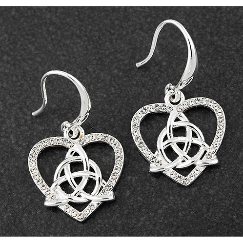 Equilibrium Silver Plated Celtic Heart Knot Earrings