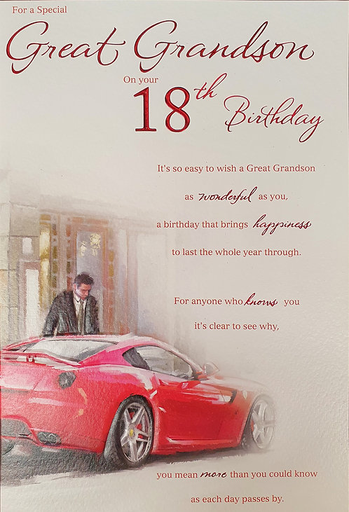 Great Grandson 18th birthday Greeting Card With Car