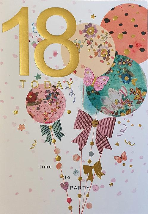 18th Female Birthday Card