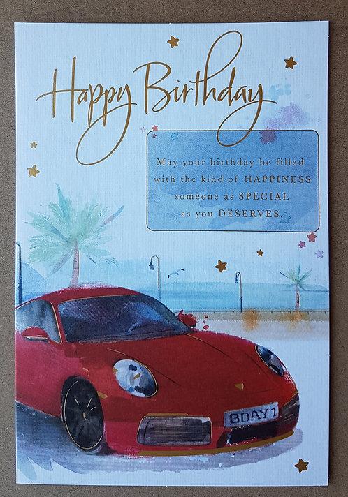 Male Birthday Greeting Card - Car