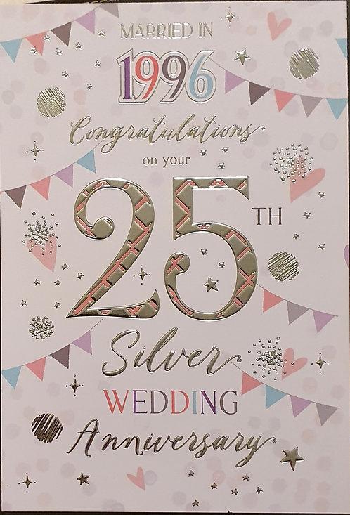 Married in 1996 - 25th Silver Wedding Anniversary Tri-Fold Card