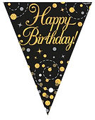 bunting happy birthday black and gold