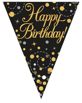 birthday bunting black and gold