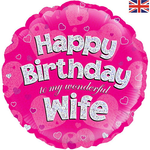 "18"" Pink Happy Birthday Wife Balloon - Helium Filled"