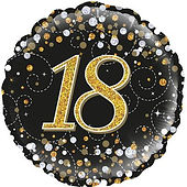 18 inch black and gold round foil balloon