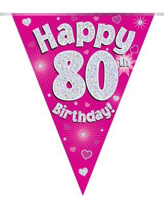 Pink Happy 80th Birthday Bunting