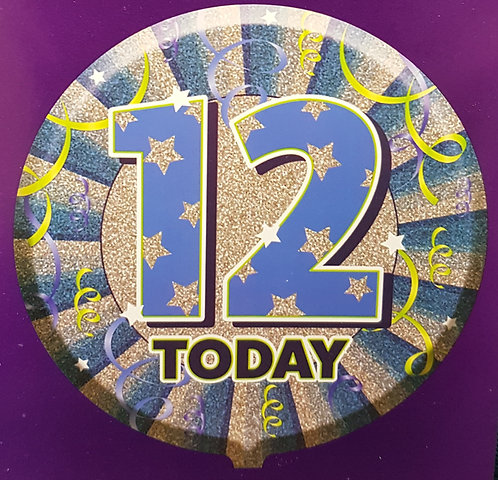 "18"" Blue 12th Birthday Balloon - Helium Filled"