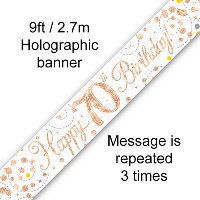 Rose Gold 70th Happy Birthday Party Banner