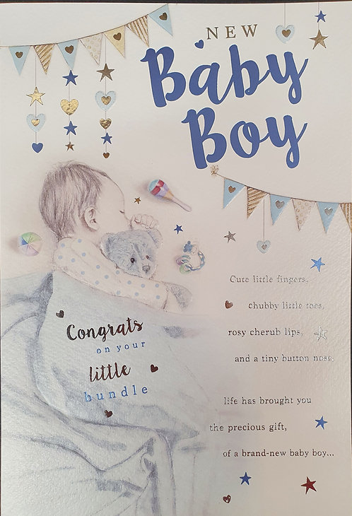 Birth Of A Baby Boy  Congratulations Greeting Card