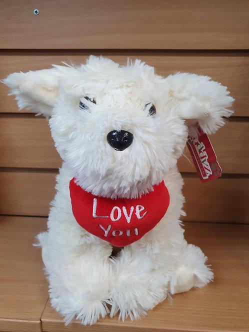 Love You White Dog Plush Valentines Day Gift