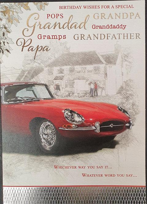 Grandad Birthday Greeting Card With Car