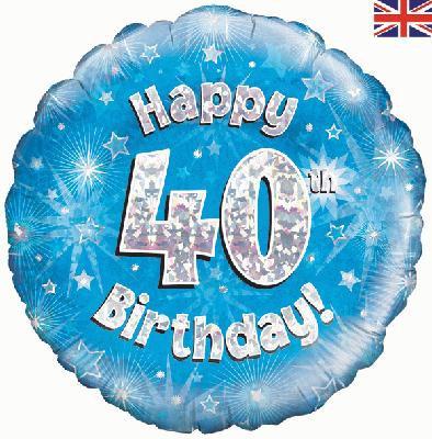 "18"" Blue 40th Birthday Balloon - Helium Filled"