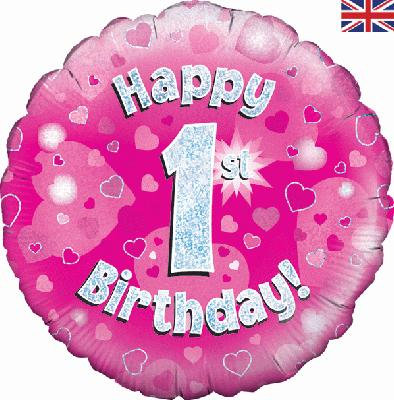 "18"" Pink 1st Birthday Balloon - Helium Filled"