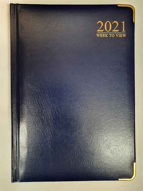 Blue 2021 Week To View Leather Effect A5 Diary