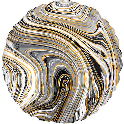 """18"""" Marblez Black Round -  Anagram Balloon - Helium Filled"""