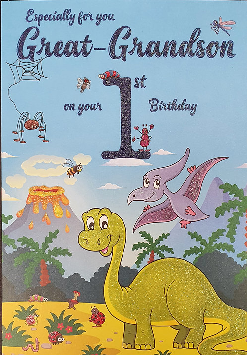 Great Grandson 1st Birthday Greeting Card Dinosaurs