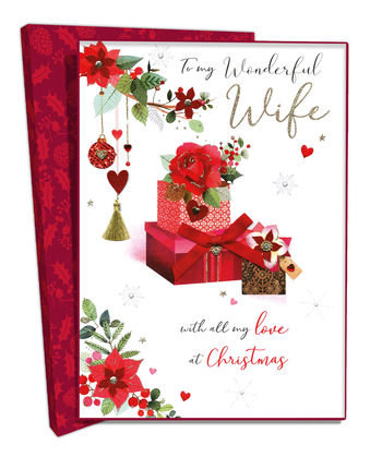 Wife Boxed Christmas Greeting Card With Gift Boxes