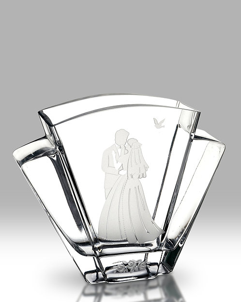 bride and groom flared wedding glass vase by nobile glass and giftware